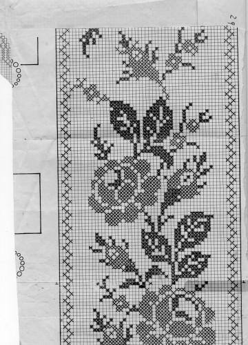 tovaglia lavorata all'uncinetto con rose e farfalle