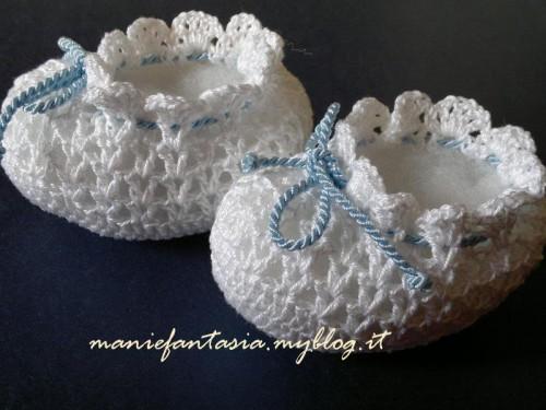 scarpine neonato uncinetto di cotone