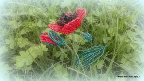 tutorial fiori di perline il papavero