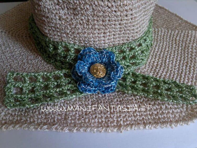 fiore uncinetto cappello estivo