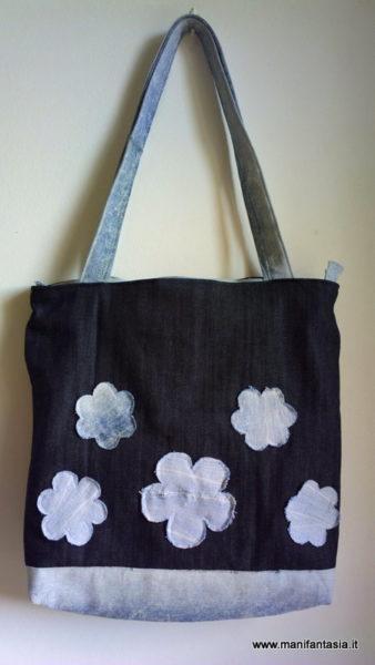 tutorial cucito e riciclo borsa jeans fiori