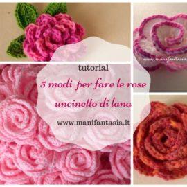 rose uncinetto di lana tutorial e schemi