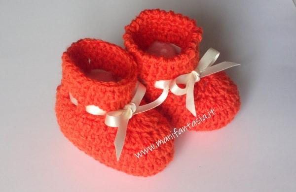 scarpine uncinetto modello stivaletto arancioni