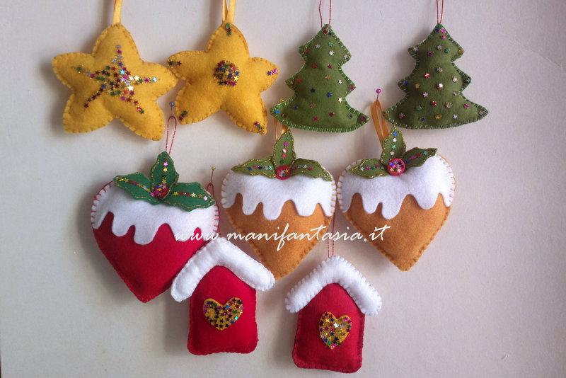 Addobbi albero di natale pannolenci fai da te manifantasia - Decorazioni natalizie albero fai da te ...