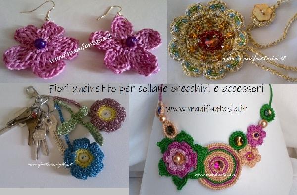 fiori uncinetto per collane e orecchini