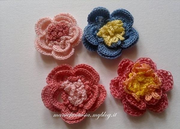fiori uncinetto tre colori