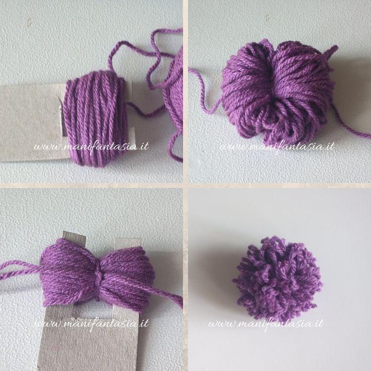 pom pom di lana con il cartoncino