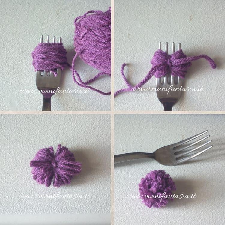 pom pom di lana con la forchetta piccoli