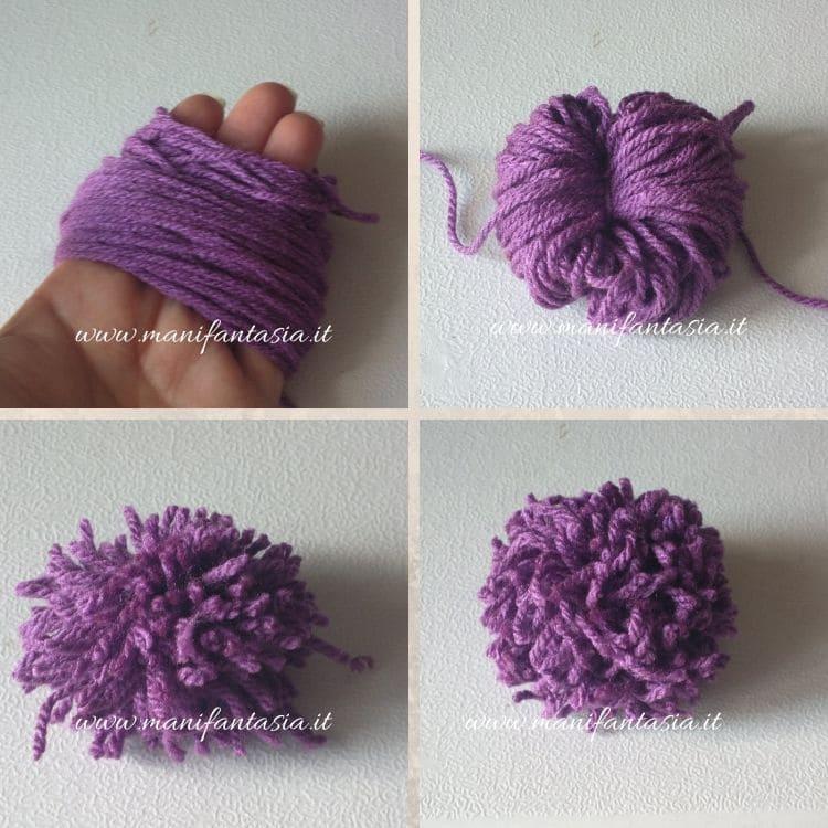 pom di lana con le mani