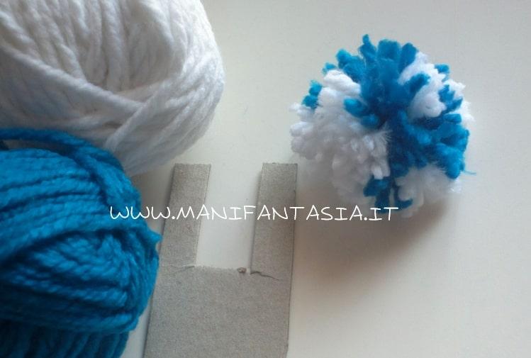 pon pon di lana a 2 colori