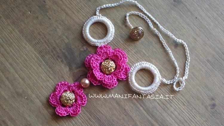 collana uncinetto rose e fiori