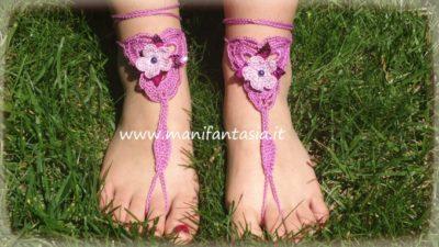 cavigliere uncinetto sandali a piedi nudi