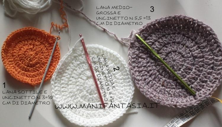 calcolare la misura di cappelli uncinetto con filati diversi