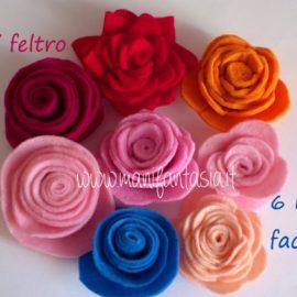 rose di feltro 6 modelli facili senza cuciture