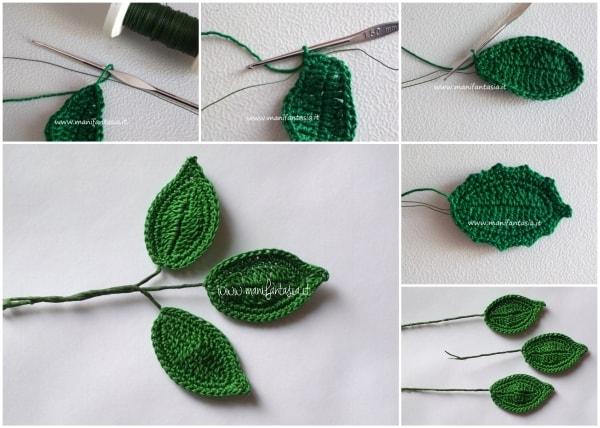 foglie uncinetto per rose con gambo