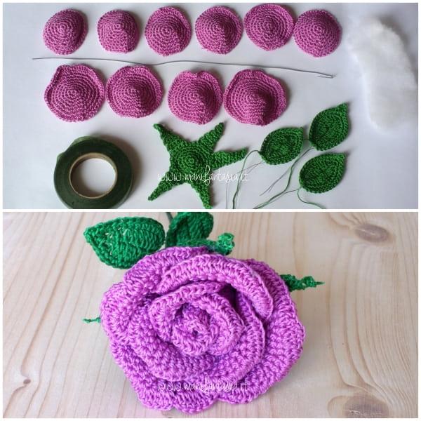 rose uncinetto con gambo aperte 10 petali