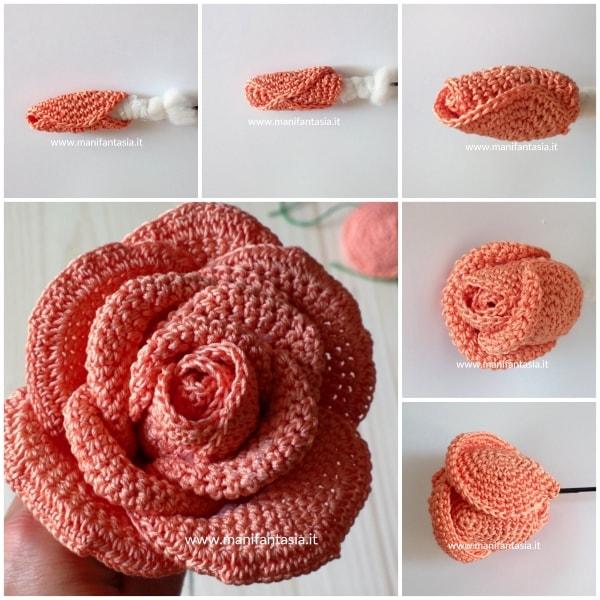 rose uncinetto con gambo aperte 15 petali