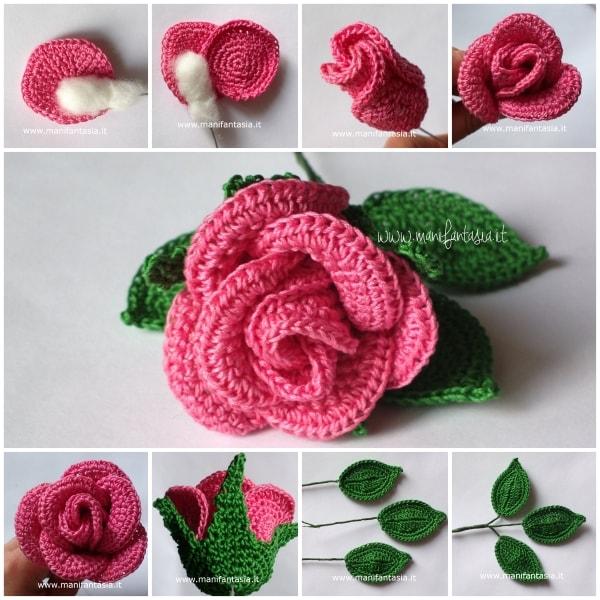 rose uncinetto con gambo aperte 9 petali