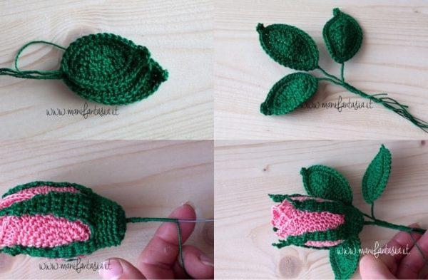 rose uncinetto con stelo foglie
