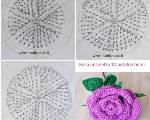schema rosa uncinetto con gambo 10 petali