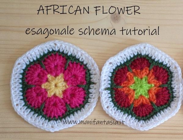 African flower esagonale schema tutorial