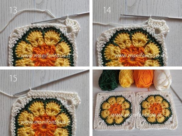 African flower quadrato schema e tutorial
