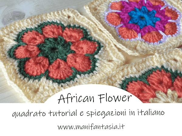African flower quadrato tutorial in italiano manifantasia