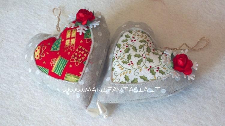 Cuori e sfere natalizie in feltro fai da te