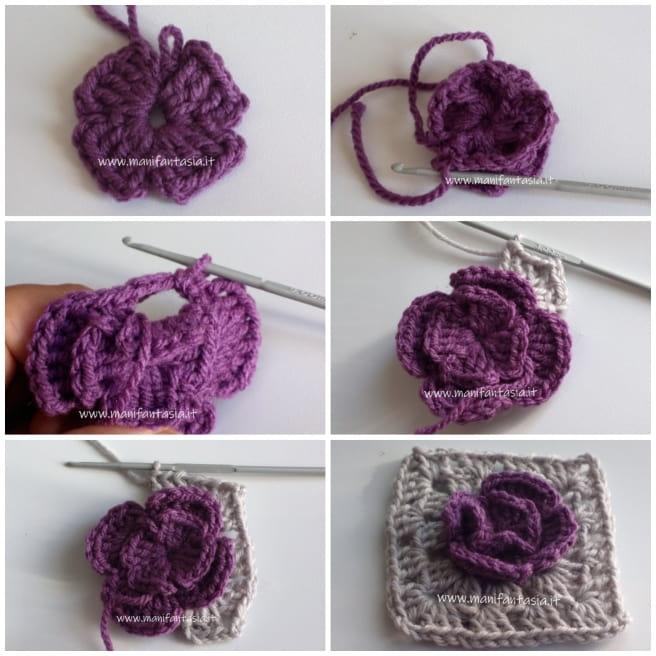 mattonella uncinetto bicolore con fiore tutorial