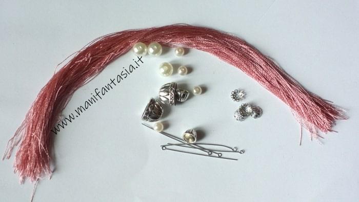 Come fare nappine con filo di seta e perle fai da te