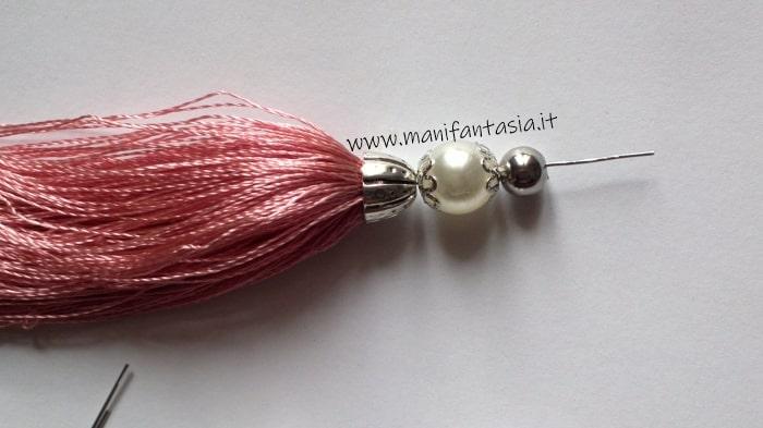 Come fare nappine con filo di seta e perle tutorial