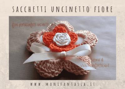 Sacchetti per le bomboniere ad uncinetto fiore