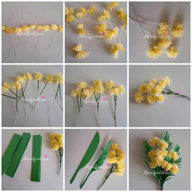 come fare le mimose con i pon pon di lana tutorial