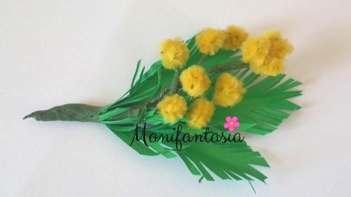 mimose fai da te con gli scovolini