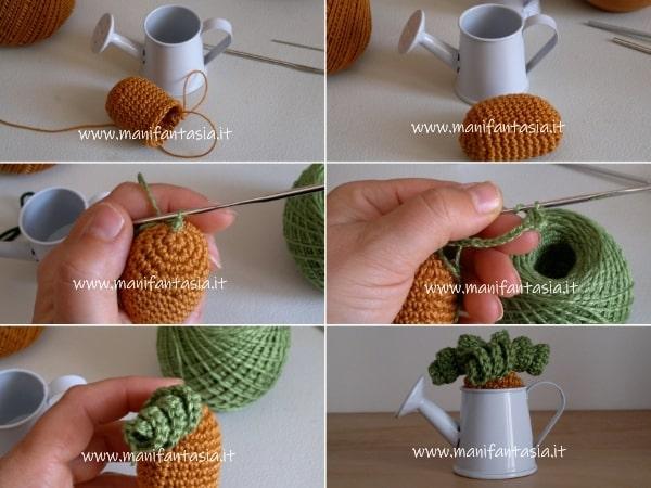 tutorial pianta grassa in miniatura ad uncinetto