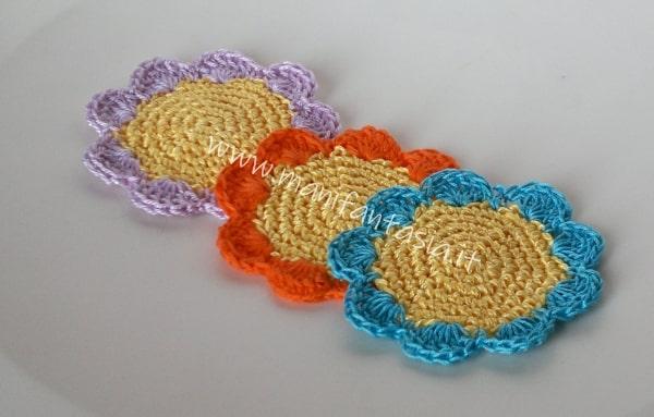 Sottobicchieri ad uncinetto a forma di fiore tutorial