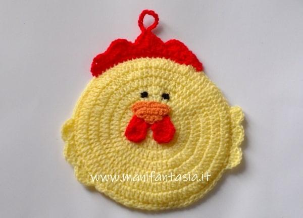 presina uncinetto a forma di gallina schema