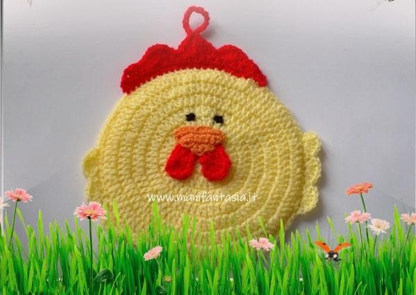 presina uncinetto a forma di gallina