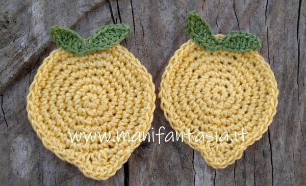 sottobicchieri all'uncinetto a forma di limone schema