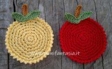 sottobicchieri uncinetto a forma di mela