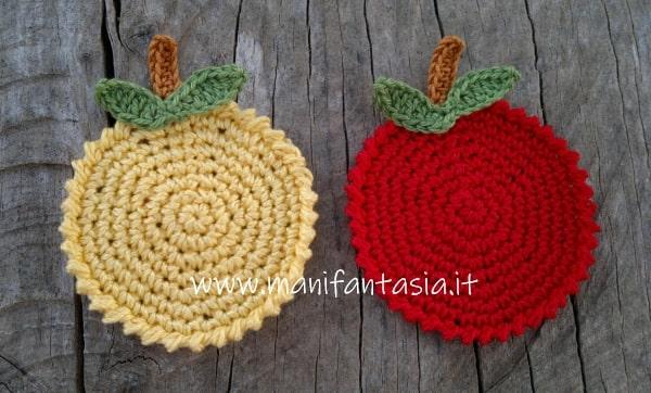 sottobicchieri uncinetto a forma di mela schema