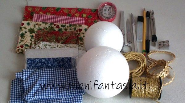 palline di polistirolo rivestite con la stoffa materiale occorrente