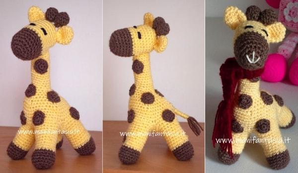 giraffa amigurumi su quattro zampe
