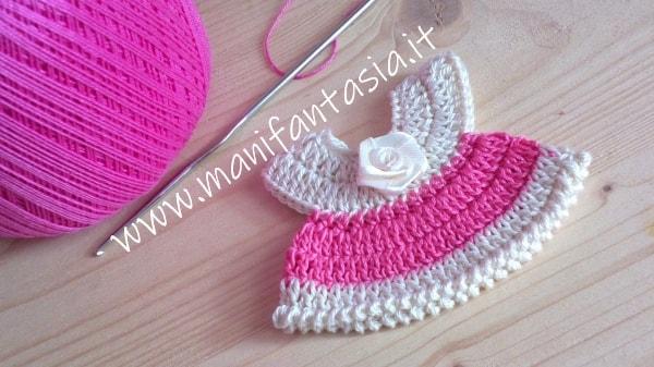 mini vestitini uncinetto rosa per bomboniere