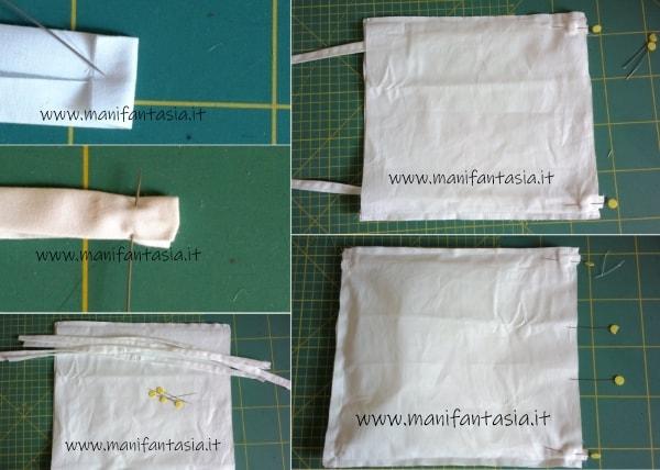 mascherine di stoffa con la fettuccia
