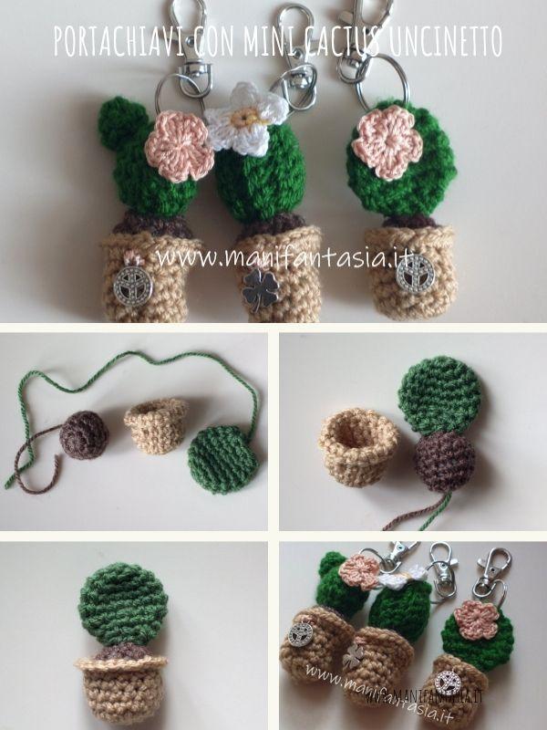 portachiavi amigurumi mini cactus schema spiegazioni