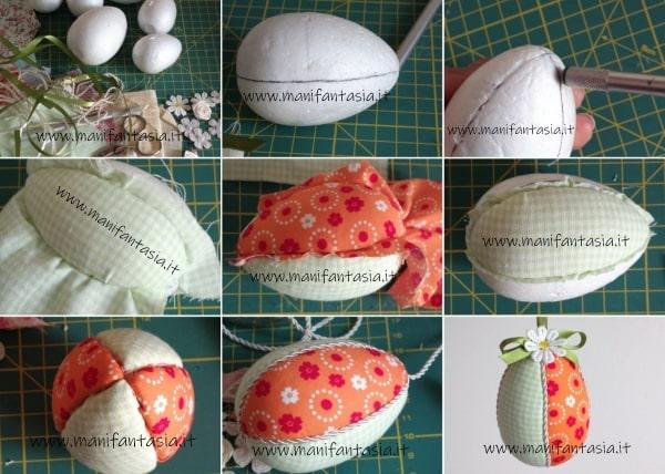 rivestire le uova di polistirolo con la stoffa tutorial