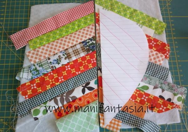 cucire una presina patchwork foglia