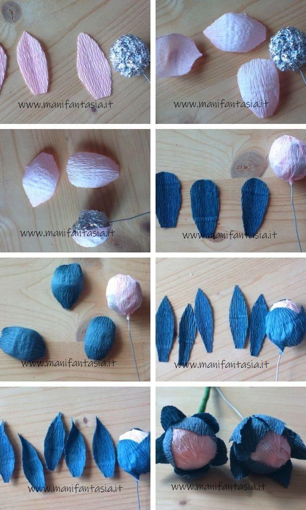 peonie di carta crespa tutorial 4