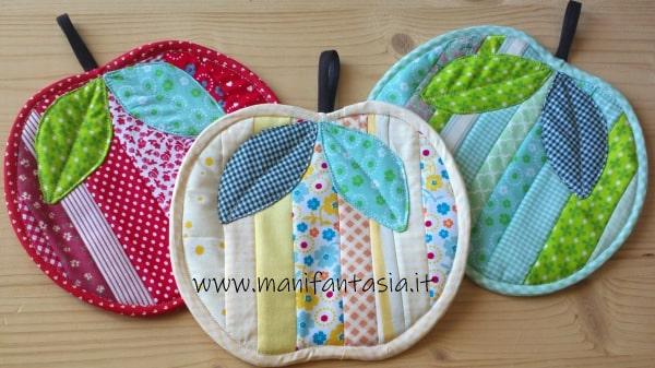 presine di stoffa patchwork a forma di mela